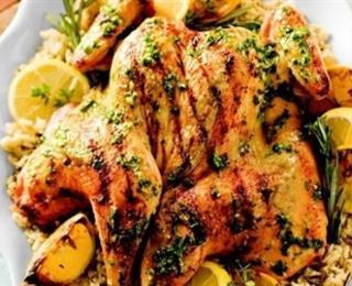 الدجاج المحمر بالثوم والزعتر
