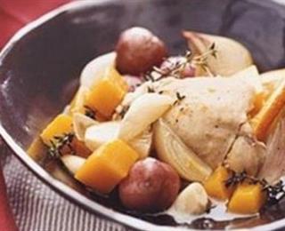 الدجاج بالبرتقال والبطاطا