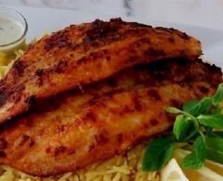 فيليه السمك مع الرز المدخن