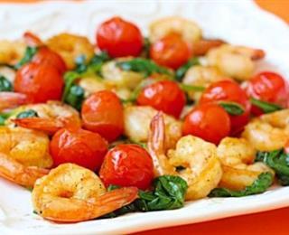 الروبيان بالطماطم