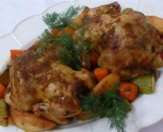 دجاج وخضروات بالفرن