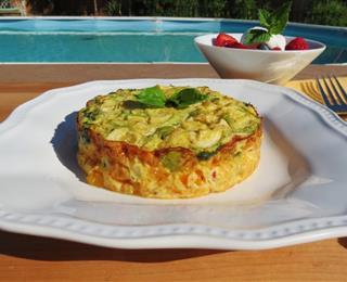 بيض بالخضر في الفرن